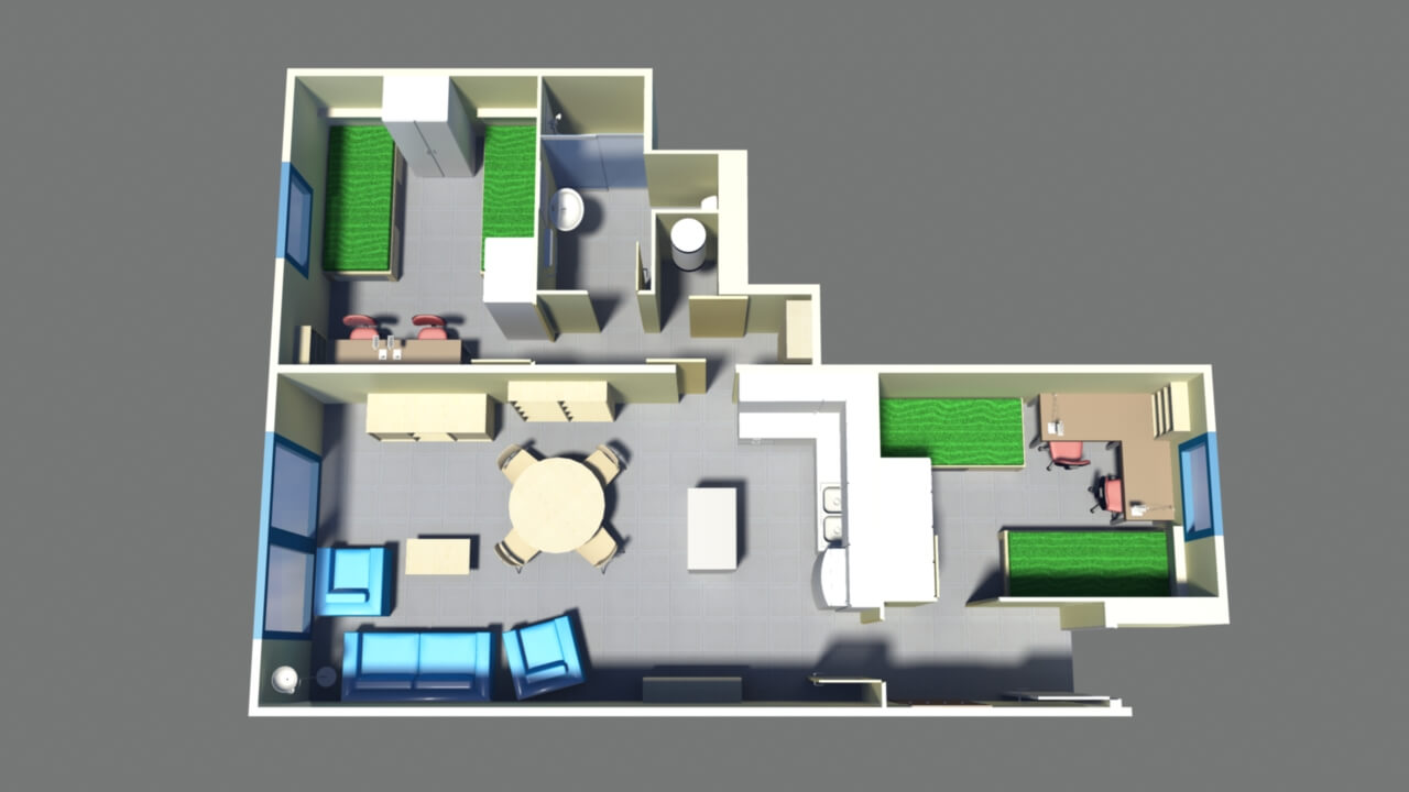 Floor plan flat for 4 people