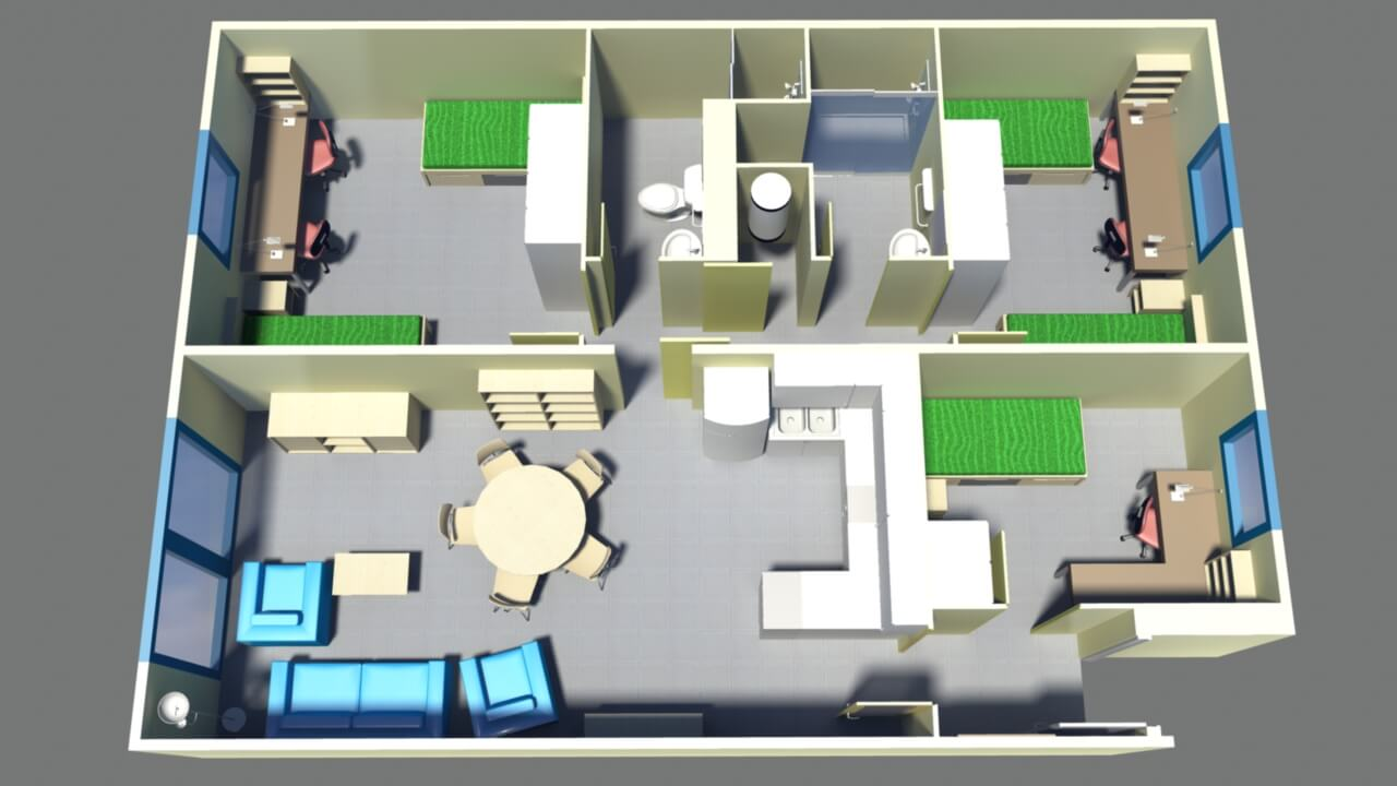 Floor plan flat for 5 people